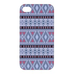 Fancy Tribal Border Pattern Blue Apple Iphone 4/4s Hardshell Case by ImpressiveMoments