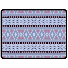 Fancy Tribal Border Pattern Blue Double Sided Fleece Blanket (large)  by ImpressiveMoments