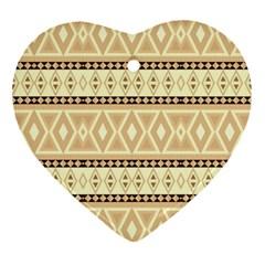Fancy Tribal Border Pattern Beige Ornament (Heart)  by ImpressiveMoments