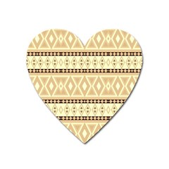 Fancy Tribal Border Pattern Beige Heart Magnet by ImpressiveMoments