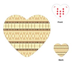 Fancy Tribal Border Pattern Beige Playing Cards (heart)  by ImpressiveMoments