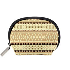 Fancy Tribal Border Pattern Beige Accessory Pouches (small)  by ImpressiveMoments