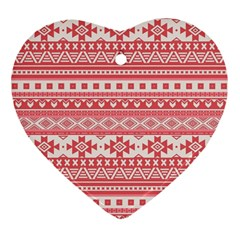 Fancy Tribal Borders Pink Heart Ornament (2 Sides) by ImpressiveMoments