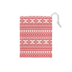 Fancy Tribal Borders Pink Drawstring Pouches (Small)  by ImpressiveMoments