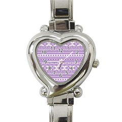 Fancy Tribal Borders Lilac Heart Italian Charm Watch by ImpressiveMoments