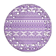 Fancy Tribal Borders Lilac Round Filigree Ornament (2Side) by ImpressiveMoments