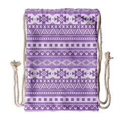 Fancy Tribal Borders Lilac Drawstring Bag (large) by ImpressiveMoments