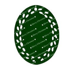Merry Christmas,text,green Ornament (oval Filigree)  by ImpressiveMoments