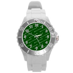 Merry Christmas,text,green Round Plastic Sport Watch (l) by ImpressiveMoments