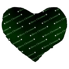 Merry Christmas,text,green Large 19  Premium Flano Heart Shape Cushions by ImpressiveMoments
