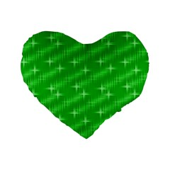 Many Stars, Neon Green Standard 16  Premium Heart Shape Cushions by ImpressiveMoments