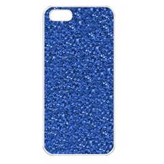 Sparkling Glitter Blue Apple Iphone 5 Seamless Case (white) by ImpressiveMoments