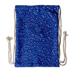 Sparkling Glitter Blue Drawstring Bag (large)