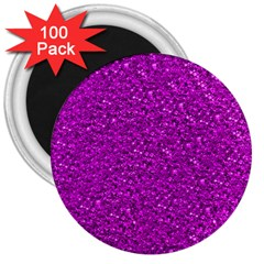 Sparkling Glitter Hot Pink 3  Magnets (100 Pack) by ImpressiveMoments