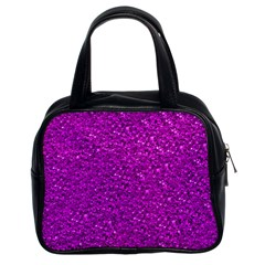 Sparkling Glitter Hot Pink Classic Handbags (2 Sides) by ImpressiveMoments