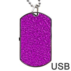Sparkling Glitter Hot Pink Dog Tag Usb Flash (one Side) by ImpressiveMoments