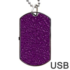 Sparkling Glitter Plum Dog Tag Usb Flash (one Side) by ImpressiveMoments