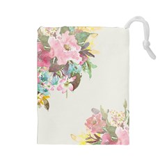 Vintage Watercolor Floral Drawstring Pouches (Large)  by PipPipHooray