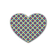 Cute Abstract Pattern Background Rubber Coaster (heart)  by creativemom
