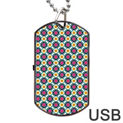 Cute Abstract Pattern Background Dog Tag Usb Flash (two Sides)  by creativemom