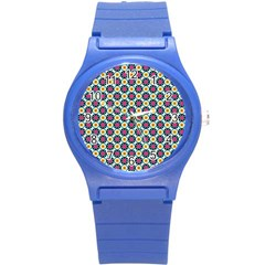 Cute Abstract Pattern Background Round Plastic Sport Watch (s) by creativemom