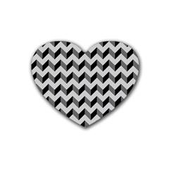 Modern Retro Chevron Patchwork Pattern  Heart Coaster (4 pack)  by creativemom