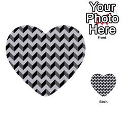 Modern Retro Chevron Patchwork Pattern  Multi Purpose Cards (heart)