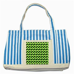 Modern Retro Chevron Patchwork Pattern Striped Blue Tote Bag  by creativemom