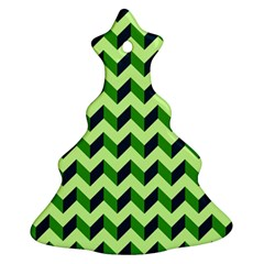 Modern Retro Chevron Patchwork Pattern Christmas Tree Ornament (2 Sides) by creativemom