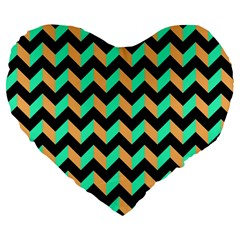 Modern Retro Chevron Patchwork Pattern Large 19  Premium Heart Shape Cushions by creativemom