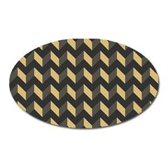 Modern Retro Chevron Patchwork Pattern Oval Magnet by creativemom
