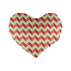 Modern Retro Chevron Patchwork Pattern Standard 16  Premium Heart Shape Cushions by creativemom