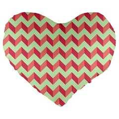Modern Retro Chevron Patchwork Pattern Large 19  Premium Flano Heart Shape Cushions by creativemom