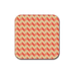 Modern Retro Chevron Patchwork Pattern Rubber Square Coaster (4 Pack)  by creativemom