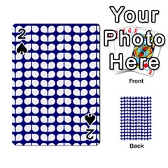 Blue And White Leaf Pattern Playing Cards 54 Designs  by creativemom