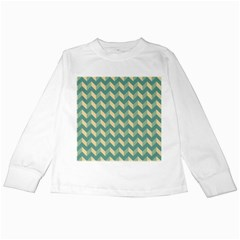 Modern Retro Chevron Patchwork Pattern Kids Long Sleeve T Shirts by creativemom
