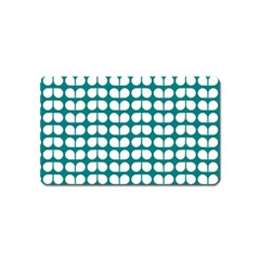 Teal And White Leaf Pattern Magnet (name Card) by creativemom