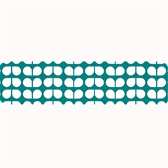 Teal And White Leaf Pattern Large Bar Mats