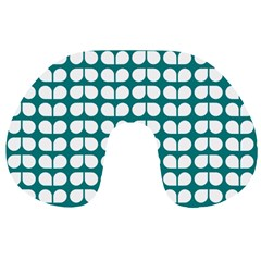 Teal And White Leaf Pattern Travel Neck Pillows
