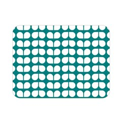Teal And White Leaf Pattern Double Sided Flano Blanket (Mini)
