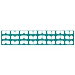 Teal And White Leaf Pattern Flano Scarf (small)  by creativemom
