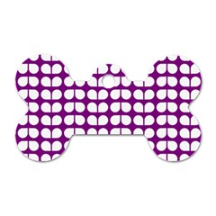 Purple And White Leaf Pattern Dog Tag Bone (two Sides) by creativemom