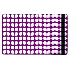 Purple And White Leaf Pattern Apple Ipad 3/4 Flip Case by creativemom
