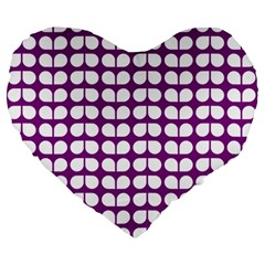 Purple And White Leaf Pattern Large 19  Premium Heart Shape Cushions by creativemom