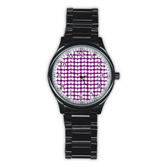 Purple And White Leaf Pattern Stainless Steel Round Watches by creativemom