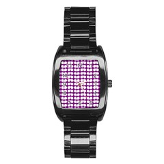 Purple And White Leaf Pattern Stainless Steel Barrel Watch by creativemom