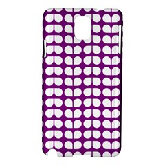 Purple And White Leaf Pattern Samsung Galaxy Note 3 N9005 Hardshell Case by creativemom