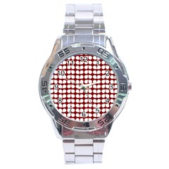 Red And White Leaf Pattern Stainless Steel Men s Watch by creativemom