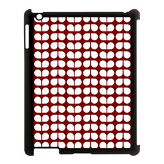 Red And White Leaf Pattern Apple iPad 3/4 Case (Black) by creativemom