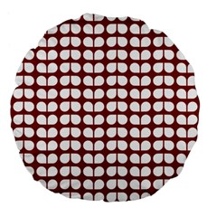 Red And White Leaf Pattern Large 18  Premium Flano Round Cushions by creativemom